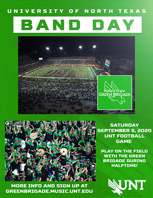 University of North Texas Band Day Flier